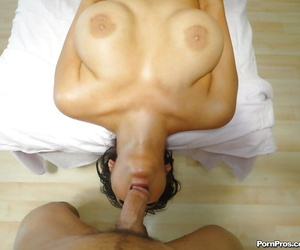 Brunette MILF Kimber Kay gets mouth fucked by a masseur and gets a huge facial