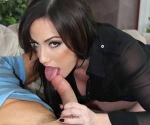Brunette divorcee Jennifer White seduces a younger guy in a tight skirt