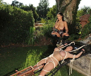 Anais Hills and Kora get into hardcore BDSM game with a sex machine