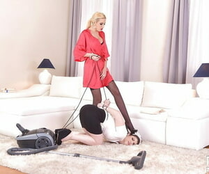 Mature blonde housewife forces maid to perform lesbian sex acts