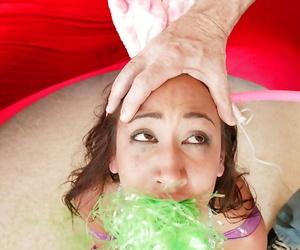 Teen babe in bondage Amia Moretti getting toyed and fucked hardcore