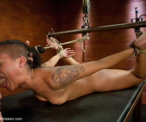 Skin Diamond is borders in rope measurement being face fucked without mercifulness