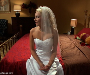 Blonde bride Katie Summers gets tied up during an interracial gangbang