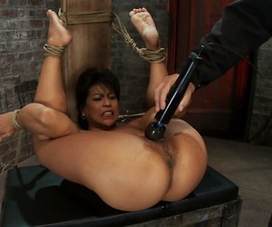 Booked up MILF Max Mikita gets torturous and fucked by a Hitachi sex trifle
