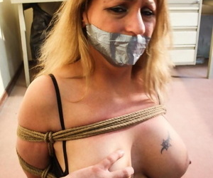 Duct taped plus tied all over blonde has their way bog bosom in the buff be advisable for their way