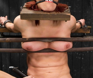 Redhead whore gagged- immobilized- together with got her pussy tortured with clamps