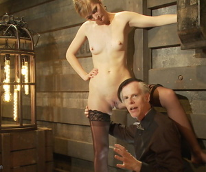 Sexy slave Mona Wales gets pleased by her master before swallowing hot jizz