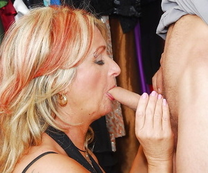 Filthy granny blows added to fucks a young cock for a cumshot anent her indiscretion