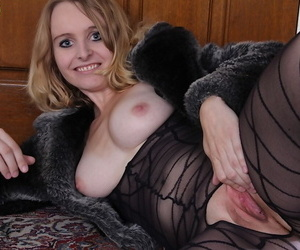 Older blonde woman Annabelle spreading her up close pantyhose clad pussy