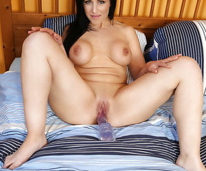 Tenebrous of age in the matter of beamy interior Alex Jet satisfies herself in the matter of a dildo