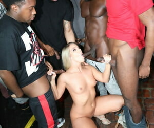 Peaches Candice Risk gets gangbanged & blowbanged by fat raven cocks