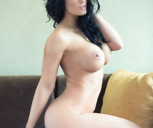 Dark haired first timer Jessie Shannon peels off her bodysuit to pose nude