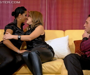 Smoking hot sluts on high heels are into hardcore fully clothed threesome