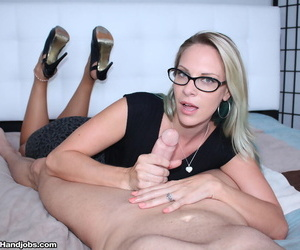 Clothed to each elderly lady Vicky Vixxx jacks off a cock crippling glasses