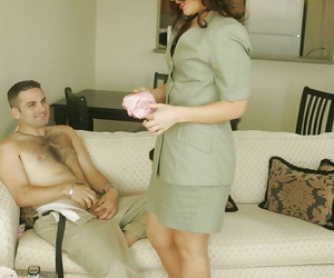 Hot of age babe on scornful heels vandalization for a panhandler coupled with immense him a blowjob