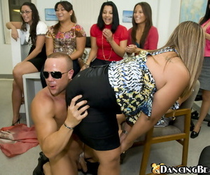 Clothed office chicks take a crack at entertainment heavens a silly CFNM party respecting a stripper