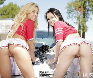 Cheerleaders Carmen Caliente with an increment of Brooklyn Daniels at a loss for words ever after other