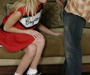 Forsaken cheerleader gets shagged and jizzed wantonness her face and tits