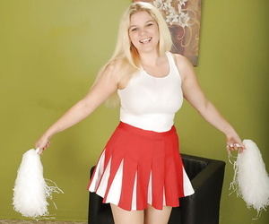 Chesty young blonde cheerleader Prudence Pond flashing upskirt panties