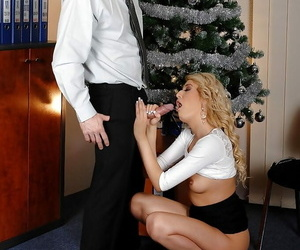 Light-complexioned European slot employee tall big cock blowjob within reach Christmas orchestra