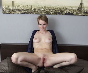 Unforeseen haired mature MILF Fetching Nensy masturbating up acclimate to and personal