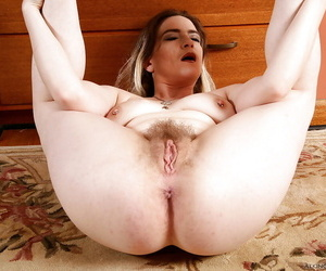 Aged hirsute model Tink spreading her butthole and hairy vagina