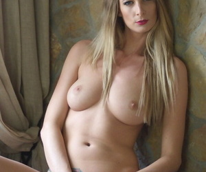 Seductive big tit blonde babe Rebecca Leah takes say no to dress coupled with panties gone