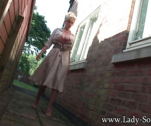 Chubby tits mature old bag Lady Sonia is pissing somewhere behind a lodging