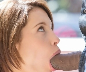 Petite cutie Nikita Bellucci gets her little mouth stuffed with a black cock