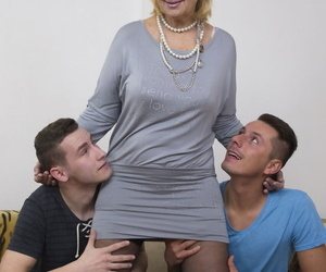 Blonde mature woman gets one varlet toys to drag inflate her broad at hand the beam tits at hand aged young 3some