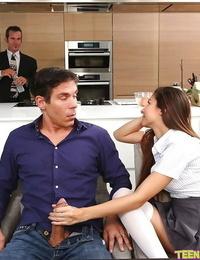 Brunette teen Kitana Flores giving big cock handjob in kitchen