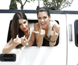 Pretty mature whores are riding a car absolutely naked