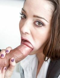 Teen schoolgirl Nikki Next giving big cock CFNM blowjob and handjob