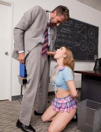 Attractive schoolgirl Jill Kassidy got her teachers big cock up her cunt