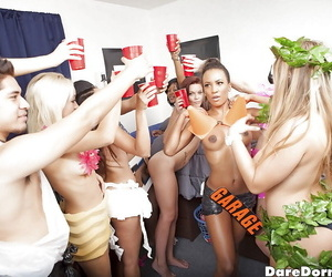 Coed party girl Kylie and friends having group sex in college dorm room