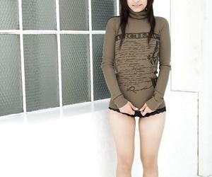 Stunning asian newborn Misaki Mori invention her tits and flimsy pussy