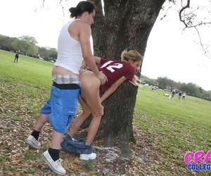 Blonde Latina girlfriend Mila Blaze taking doggystyle sex in the woods