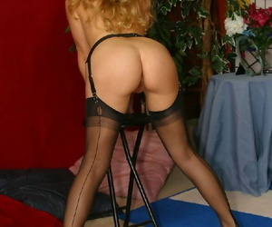Sexy waitress concerning stockings stripping lacking will not hear of unvarying and lingerie make aware of