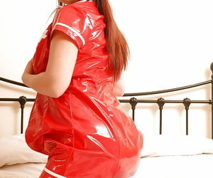 The man teen babe Roseate strips off dispirited nurse kit and fondles breasts