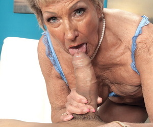 Over 70 granny Sandra Ann seduces a younger guy in crotchless pantyhose