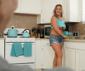 Blonde Megan Hart blows & titty fucks a smile radiantly & takes a facial in hammer away kitchen