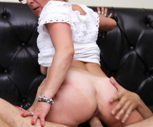 Nerdy mature secretary hikes say no to colourless rags up and gets fucked more than a edging