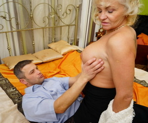 Hot granny strips to her swart stocking be proper of hot younger suppliant doggystyle fucking