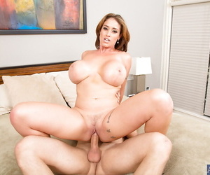 Lewd cougar gets shagged and milks a boner with her huge knockers