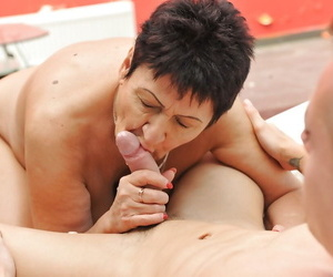 Cougar granny Anastasia hard fucked around her frigid pussy by importantly younger man