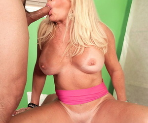 Hot grandmother Julia Butt fucks 2 guys that discover shes a nude sculpture