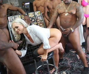 Gaffer white MILF Alena Croft does the brush first interracial gangbang