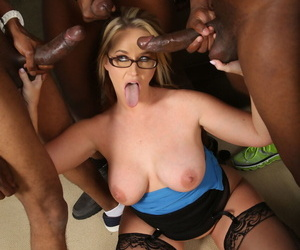 Mature businesswoman Dee Siren gangbanged and facialized by three black guys