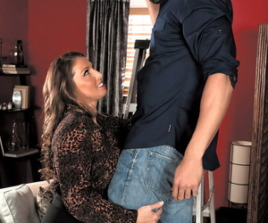 Middle-aged lady Stacie Starr seduces a younger man apropos crotchless pantyhose