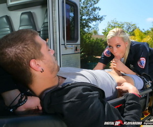 Stunning ambulance nurse gives a special treatment to her well-hung patient